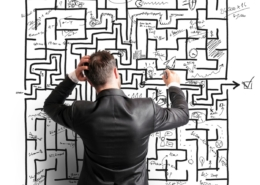 Working from home problem solving maze thinking adversity