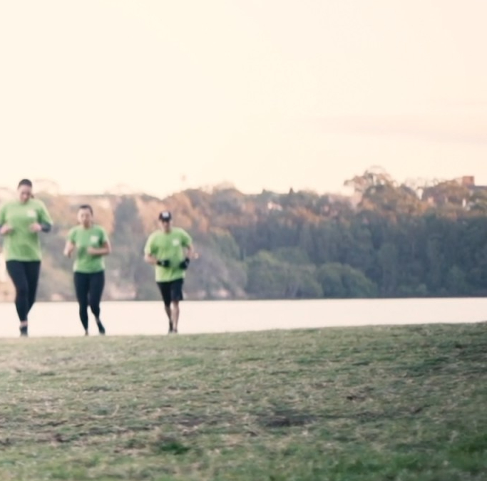 Group of people running in group fitness workout